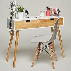 GREEN SPIRIT Mesa consola de madera con 2 cajones - 100 x 30 x 80 cm - diseño retro escandinavo, color blanco