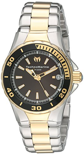 technomarine-womens-quartz-watch-with-black-dial-analogue-display-and-gold-stainless-steel-bracelet-