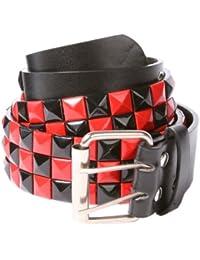 Accessoryo - style échiquier damier noir et rouge clouté ceinture noire disponible dans une sélection de tailles