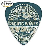 Pacific Waves Surf Camp And School Hawaii Logo Motif With Artsy Effects Design Guitar Picks 12/Pack Set