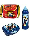 Feuerwehrmann Sam Kindergartentasche Kiga 22x21x8 + Brotdose + Trinkflasche (175)