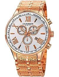 Akribos XXIV Men's Quartz Stainless Steel Casual Watch, Color Rose Gold-Toned (Model: AK960RG)