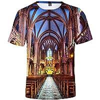 Impresión 3D Camiseta Casual Suelto Tee Notre Dama Delaware París Impresión Camiseta Vistiendo Cómodo/amarillo/S