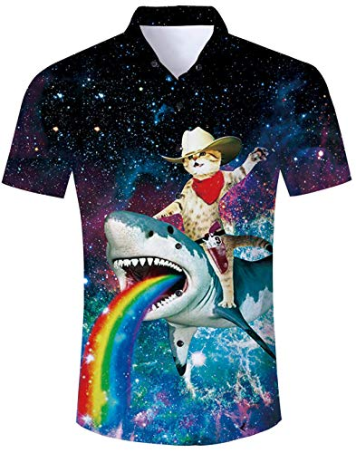 8b0ed5738 Hawaiian Shirt Mens Short Sleeve Beach Party Animal Cartoon Shirt Holiday  Fancy Funny Cute Cat tee