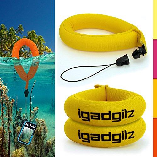 igadgitz-2-pack-giallo-impermeabile-galleggiante-schiuma-cinturino-da-polso-per-nikon-1-aw1-coolpix-
