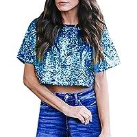 Yvelands Camisas Ocasionales del Verano de Las Blusas del Brillo de la Lentejuela Floja Atractiva de Las Mujeres de la liquidación