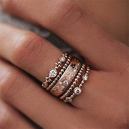 LnLyin Rose Gold Stackable Ring Jewelry for Women Girl