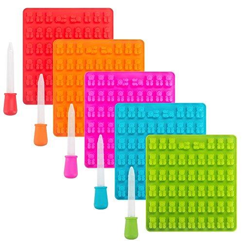Tebery Silikon Gummibärchen-Formen mit Pipetten - Set aus 5 Gummibären-Formen und 5 Pipetten ohne...