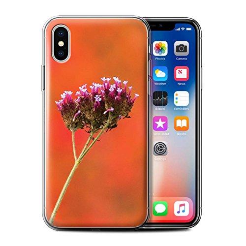 Stuff4 Gel TPU Hülle / Case für Apple iPhone X/10 / Pinke Blume Muster / Englische Gärten Kollektion Pinke Blume