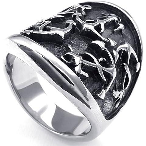 Acero Inoxidable Anillo de Hombre Ancla de Plata Gótica Negro por AieniD