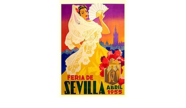 1960/'S VINTAGE SPANISH SEVILLE SPRING FESTIVAL  A3 POSTER REPRINT