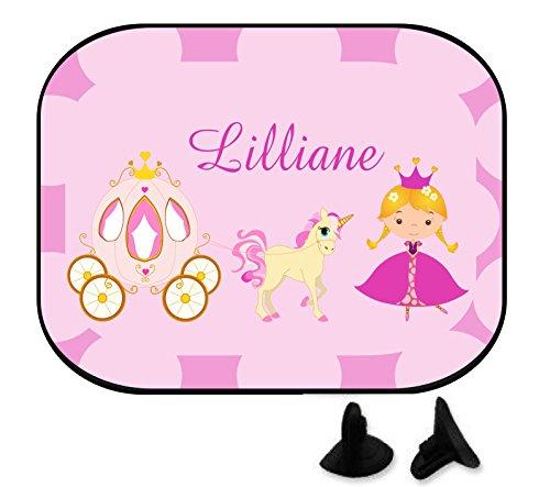 wolga-kreativ Prinzessin Einhorn Kutsche mit Name Auto SonnenSchutz und SonnenBlende für Baby und Kind personalisiert Wunschname (Doppelpack)