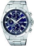 Citizen - AN3530-52L - Montre Homme - Quartz Chronographe - Cadran Bleu - Bracelet Acier Argent