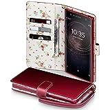 TERRAPIN Coque Cuir Sony XA2 Ultra, Étui Housse en Cuir avec La Fonction Stand pour Sony Xperia XA2 Ultra Cover - Rouge (Fleur à l'intérieur)