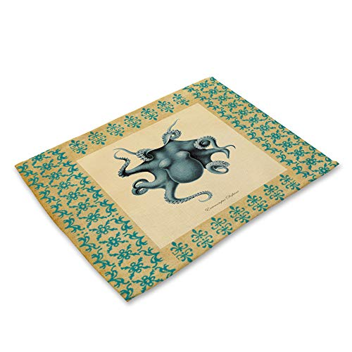 ZCHPDD Kreative Mittelmeer Conch Western Pad Baumwolle Rib Art Octopus Hummer Muster C 42 * 32 cm * 8 Stücke