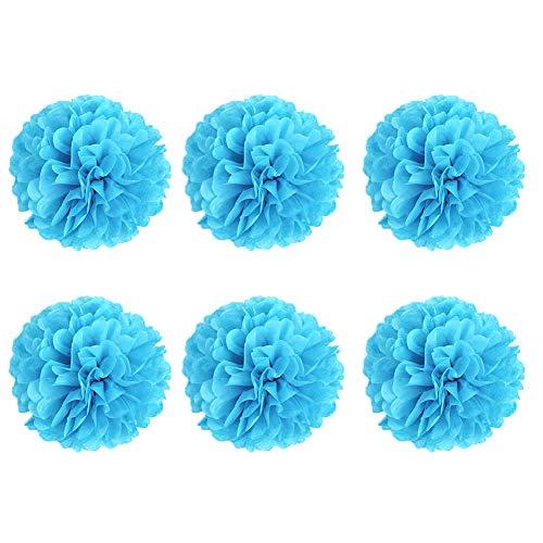 YaptheS DIY dekoratives Seidenpapier Blumen-Kugel-Papierlaternen Perfekt für Party Hochzeit Startseite Außendekoration Himmelblau 6 Inch 6pcs