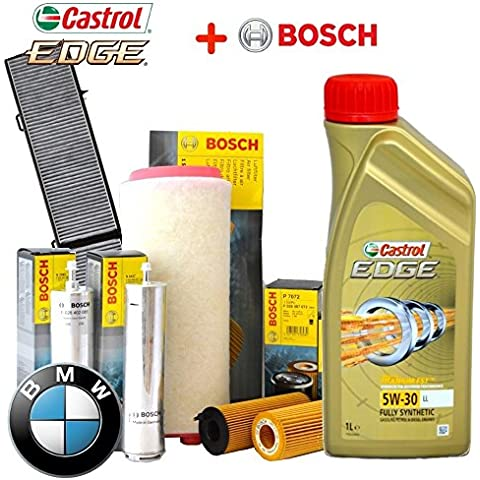 Kit tagliando olio CASTROL EDGE 5W30 8LT+4 FILTRI BOSCH BMW 530D E60 dal 2003 al 2010 160Kw - E60 Filtro Olio Kit