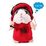 AOLVO Lovely DJ Talking Hamster, Mimikry Pet wiederholt, was Sie sagen weicher Plüsch Tier mit Mantel für Kinder Geburtstag Weihnachten Geschenk rot