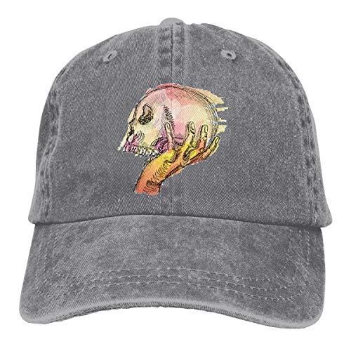 Wfispiy Hand Holds Skull Verstellbare Gewaschene Vintage Baseballmützen Trucker Hat