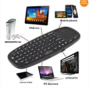 Rii i10 Multifunction 2.4GHz RF Portable Mini Wireless Keyboard with Touchpad Mouse , Laser Pointer, Rechargable Li-ion Battery And Comfortable Silicone back Cover for for PC,Laptop,Raspberry PI 2, MacOS,Linux, HTPC, IPTV, google Android Smart TV Box ,XBMC,Windows 2000 XP Vista 7 8 10 , US Layout