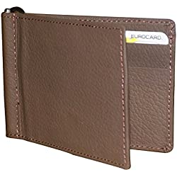Arrison Men and Boys Genuine Leather Money Clip Wallet Cum Credit Card holder Brown