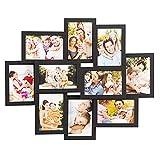 WOLTU BR9913sz Bilderrahmen Bildergalerie Holz Rahmen, Foto Collage für 10 Bilder in 10x15cm, Wand Galerie zum Querformat und Hochformat, Schwarz