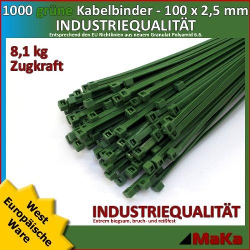 Grüne Kabelbinder (1000 Stk Kabelbinder grün 100 x 2,5 mm EUROPA-/ INDUSTRIEQUALITÄT)