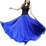 LAEMILIA Damen Lang Chiffon Kleid Rock Retro Vintage Double-Layer Gefaltet Strand (Blau-2)