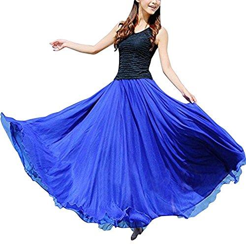 LAEMILIA Damen Lang Chiffon Kleid Rock Retro Vintage Double-Layer Gefaltet Strand (Blau-2) - Chiffon-bauchtanz-kleid