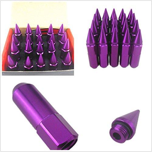 Preisvergleich Produktbild 20 Stück M12 x 1, 5 Spikes Aluminium Legierung Auto Rad Verlängerte Tuner Lug Muttern / Felgen 60 mm violett