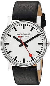 Reloj de caballero Mondaine A660.30344.11SBB de cuarzo, correa de piel color negro de Mondaine