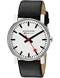 Mondaine Men's Swiss Quartz Watch with White Dial Analogue Display and Black Leather Strap A660.30344.11SBB