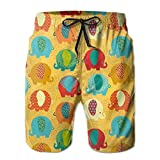 jiger Mens Swim Trunks Summer Cool Quick Dry Board Shorts Bathing Suit, Ethnic Curvy Elephants Ethnic Asian Style Colorful Mandala East Inspired M