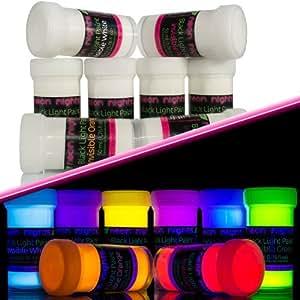 8 x unsichtbare schwarzlicht farbe fluoreszierende uv farbe leuchtfarbe neon baumarkt. Black Bedroom Furniture Sets. Home Design Ideas