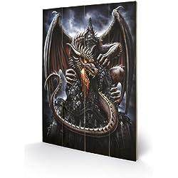 Pyramid International SW10820P Spiral Dragon Lava - Mural impreso, fabricado en madera de abeto, diseo de dragn