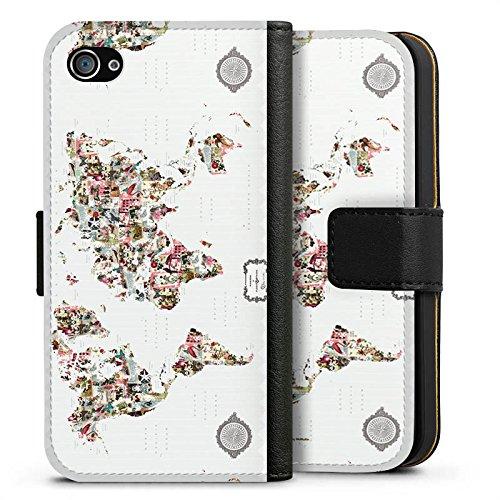 Apple iPhone X Silikon Hülle Case Schutzhülle Bunte Welt Muster Blumen Tiere Sideflip Tasche schwarz