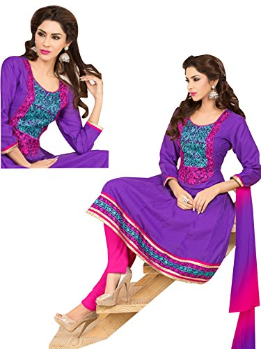 Vibes Women's Pure Cotton Straight Fit Un Stitched Salwar Kameez(V62-3011_Purple)