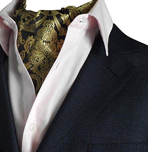 NiSeng Herren Jacquard Ascot Elegent Necktie Ascotkrawatte Paisley Krawatte Cravat Krawatten Accessoires für Festliche Veranstaltungen Gold#2