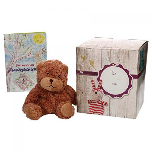 Preisvergleich Produktbild Warmies Geschenkset Minis Teddy,  Kuscheltier,  Wärmestofftier mit Lavendelduft,  Wärmekissen + edle Geschenkverpackung + Büchlein mit spannenden Kindergeschichten