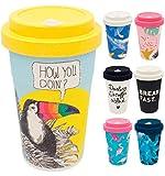 holi. Coffee-to-Go Bambus-Becher mit Schraubdeckel, Verschluss-Möglichkeit | Woodcup Kaffeebecher | Mehrweg-Becher Bamboo-Cup | lebensmittelecht, spülmaschinenfest (Flirty Tucan)