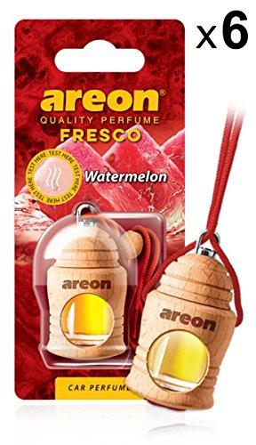 AREON Fresco Auto Duft Wassermelone Autoduft Flasche Glas Duftflakon Parfüm Flakon Holz Luft Aufhängen Hängend Anhänger Spiegel Rot 4ml 3D (Watermelon Pack x 6)