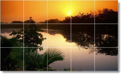 SUNSET FOTO TILE MURAL S023  12 75X 21 2CM CON (15) 4 25X 4 25AZULEJOS DE CERAMICA