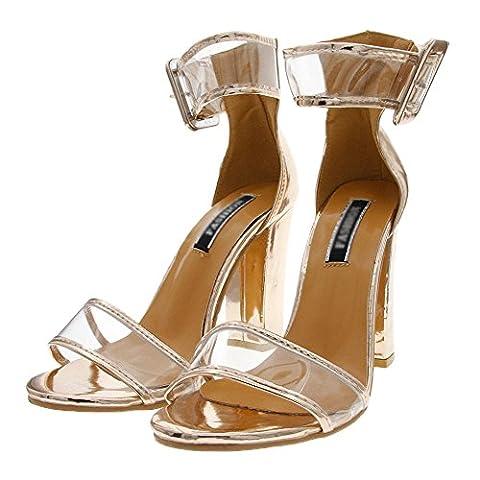 Minetom Femme Été Tendance Sandales Talons Hauts Chaussures Sandales Sexy Bout Ouvert Lanière Talon Bloc Haut Sandals Or EU 35