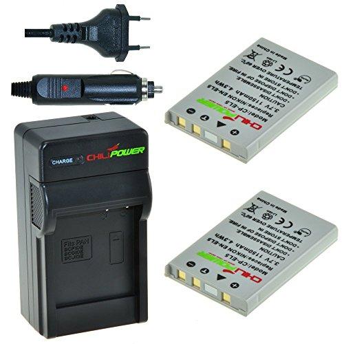t: 2X Akku + Ladegerät für Nikon Coolpix P3, P4, P80, P90, P100, P500, P510, P520, P5000, P5100, P6000, S10, 3700, 4200, 5200, 5900, 7900 ()