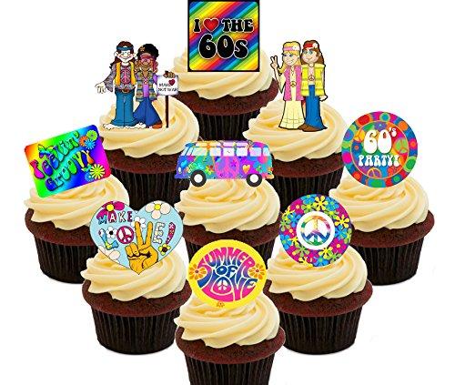 Made4You Kuchendekoration, essbar, Aufstellbare Oblaten mit Aufschrift I Love The 60er Jahre, Cupcake-Dekoration, Pack of 36 (Frieden Und Liebe Hippie Kostüm)