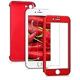 kwmobile Hülle für Apple iPhone 7 - Case Handy Schutzhülle Kunststoff inkl. Displayschutz - Back Cover in Metallic Dunkelrot
