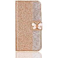 Preisvergleich für Ostop Huawei Mate 10 Pro Brieftasche Lederhülle,Glitzer Stilvoll Gold Schutzhülle Luxus Diamant Kartenfach Standfunktion...