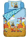 Aminata Kids - Kinderbettwäsche Baustelle 100x135 Baumwolle Bettwäsche mit Bagger Kran und Betonmischer