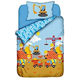 Aminata Kids Kinder-Bettwäsche 100-x-135 cm Bagger BAU-Fahrzeuge Auto-s Betonmischer Baby-Bettwäsche Baustelle 100-% Baumwolle hell-blau Bunte grün gelb Junge-n