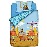 Aminata Kids - süße Kinderbettwäsche Jungen-Kinder-Bettwäsche Baustelle 100x135 hochwertige Baumwolle Bettwäsche-Kinder mit Bagger Kran und Betonmischer Bauarbeiter - Kinderbett-Größe